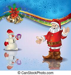 Christmas blue greeting with Santa snowman and handbells