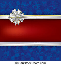 Christmas blue greeting with white gift ribbons