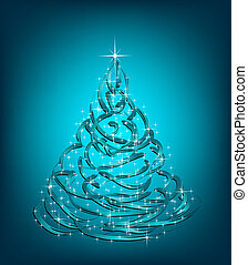 Abstract Christmas blue Tree. Vector