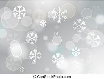 Abstract Christmas bokeh background with snowflakes