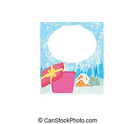 Abstract Christmas card with a surprise gift