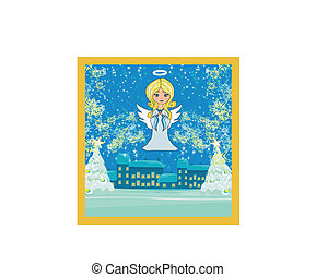Abstract Christmas card with angel