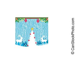 Abstract Christmas card with reindeer
