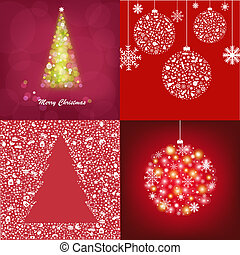 Abstract Christmas Cards Set