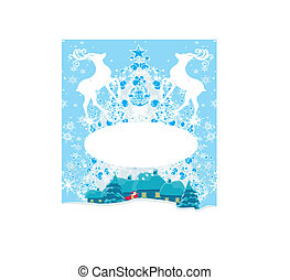Abstract Christmas frame with reindeer