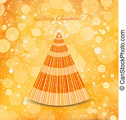 Abstract Christmas gold background with tree. Vector