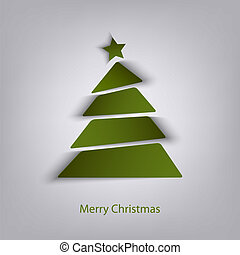 Abstract Christmas green card with tree
