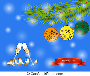 Abstract Christmas greeting with champagne and tree
