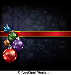 Abstract Christmas greeting with decorations on black