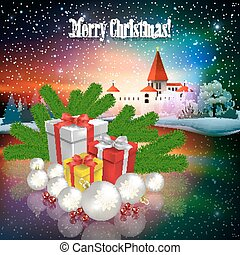 Abstract Christmas greeting with silhouette of castle