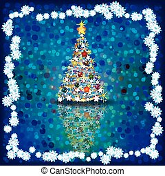 Christmas greeting with tree on blue