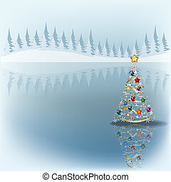 Christmas greeting with tree on grey
