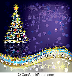 Abstract Christmas greeting with tree