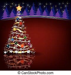 Christmas greeting with tree