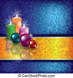 Christmas grunge background with candles
