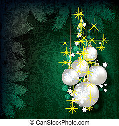 Abstract Christmas grunge background with pearl decorations