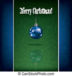 Christmas grunge greeting with decoration on green background
