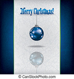 Christmas grunge greeting with decoration on white background