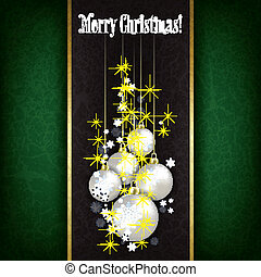 Abstract Christmas grunge greeting with white decorations on black background