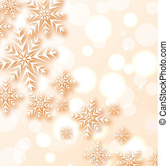 Abstract Christmas light background with snowflakes