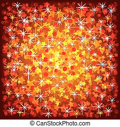 Christmas red background with stars and confetti