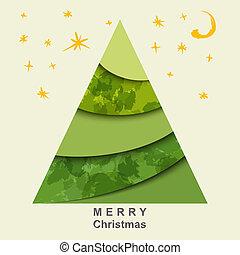 Abstract Christmas tree and stars