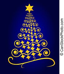 Abstract christmas tree background blue