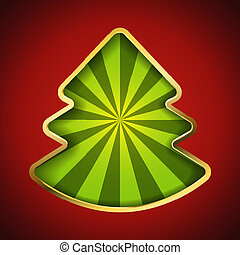 Abstract Christmas tree card with recessed green rays background.