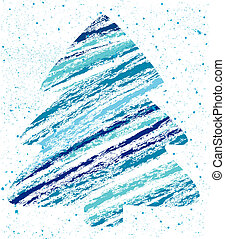 abstract christmas tree chalk drawing
