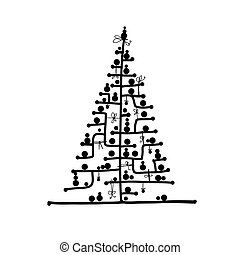 Abstract christmas tree for your design