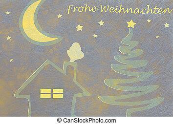 Abstract christmas tree, house and moon, christmas card