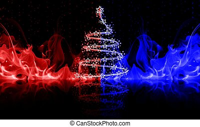 abstract christmas tree in blue and red fire