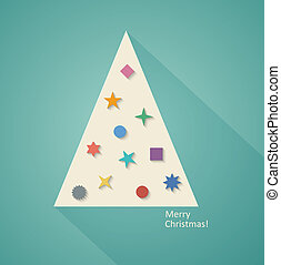Abstract Christmas Tree in Flat Design Style