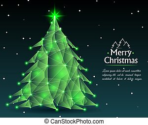 Abstract christmas tree in green shades