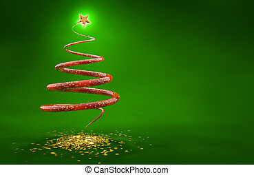 abstract christmas tree isolated on green background
