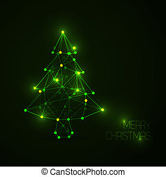 Abstract christmas tree made from light lines and dots