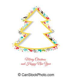Abstract Christmas tree made of Christmas items