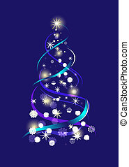 Abstract Christmas tree on blue background vector illustration.