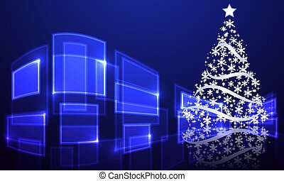 abstract christmas tree on hi-tech background