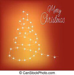 Abstract Christmas tree on red background
