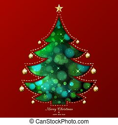Abstract Christmas tree on red background.