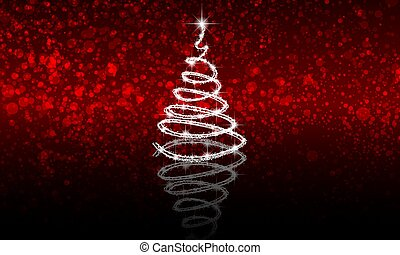 abstract christmas tree on red bokeh background with reflection