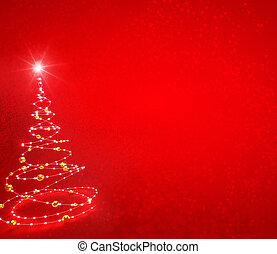 Abstract Christmas tree on red