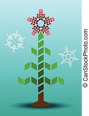 Abstract Christmas tree, stars and snowflakes