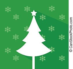 Abstract christmas tree vector illustration with colored background and snowflakes