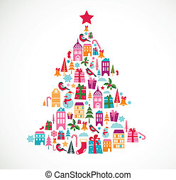 abstract christmas tree with cute vector icons