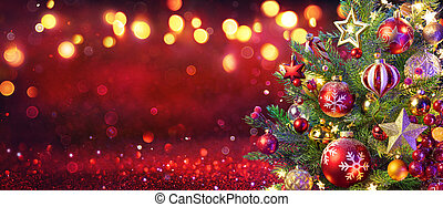 Abstract Christmas Tree With Defocused Lights On Red Glitter Background