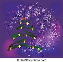 Abstract Christmas tree with golden cones, balls and bells on the background of snowflakes. EPS10 vector illustration