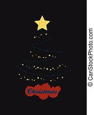 Abstract Christmas tree with silhouette baubles