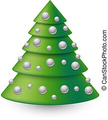 Abstract Christmas tree with silver decoration balls isolated on white background.